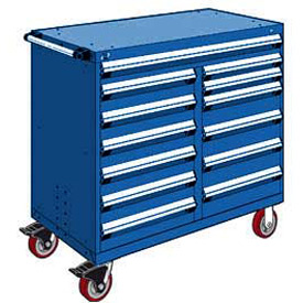 "Rousseau Metal 13 Drawer Mobile Multi-Drawer Cabinet - 48""Wx24""Dx45-1/2""H Avalanche Blue"