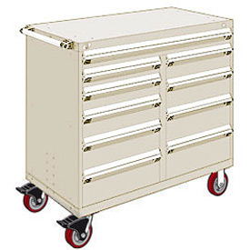 "Rousseau Metal 10 Drawer Mobile Multi-Drawer Cabinet - 48""Wx24""Dx45-1/2""H Beige"