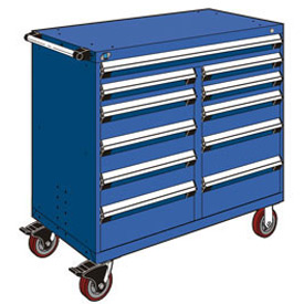 "Rousseau Metal 11 Drawer Mobile Multi-Drawer Cabinet - 48""Wx24""Dx45-1/2""H Avalanche Blue"