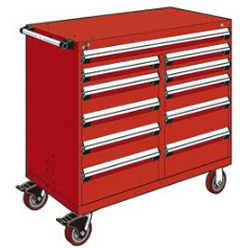 "Rousseau Metal 11 Drawer Mobile Multi-Drawer Cabinet - 48""Wx24""Dx45-1/2""H Red"