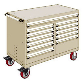 "Rousseau Metal 12 Drawer Mobile Multi-Drawer Cabinet - 48""Wx27""Dx37-1/2""H Beige"