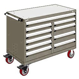 "Rousseau Metal 10 Drawer Mobile Multi-Drawer Cabinet - 48""Wx27""Dx37-1/2""H Light Gray"