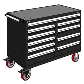 "Rousseau Metal 10 Drawer Mobile Multi-Drawer Cabinet - 48""Wx27""Dx37-1/2""H Black"