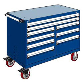 "Rousseau Metal 9 Drawer Mobile Multi-Drawer Cabinet - 48""Wx27""Dx37-1/2""H Avalanche Blue"