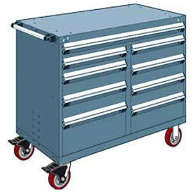 "Rousseau Metal 9 Drawer Mobile Multi-Drawer Cabinet - 48""Wx27""Dx41-1/2""H Everest Blue"