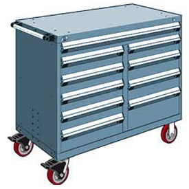 "Rousseau Metal 10 Drawer Mobile Multi-Drawer Cabinet - 48""Wx27""Dx41-1/2""H Everest Blue"