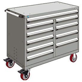 "Rousseau Metal 10 Drawer Mobile Multi-Drawer Cabinet - 48""Wx27""Dx41-1/2""H Light Gray"