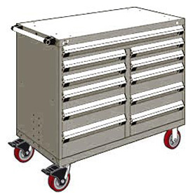 "Rousseau Metal 11 Drawer Mobile Multi-Drawer Cabinet - 48""Wx27""Dx41-1/2""H Light Gray"