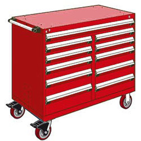 "Rousseau Metal 11 Drawer Mobile Multi-Drawer Cabinet - 48""Wx27""Dx41-1/2""H Red"
