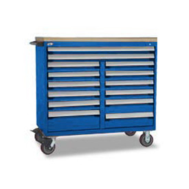 "Rousseau Metal 14 Drawer Mobile Multi-Drawer Cabinet - 48""Wx27""Dx45-1/2""H Avalanche Blue"