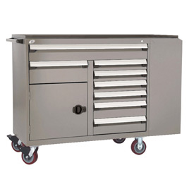 "Rousseau Metal 8 Drawer Mobile Multi-Drawer Cabinet - 62""Wx27""Dx45-1/2""H Light Gray"