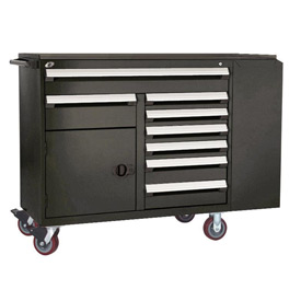 "Rousseau Metal 8 Drawer Mobile Multi-Drawer Cabinet - 62""Wx27""Dx45-1/2""H Black"
