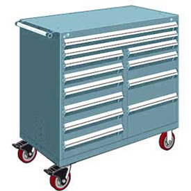 "Rousseau Metal 12 Drawer Mobile Multi-Drawer Cabinet - 48""Wx27""Dx45-1/2""H Everest Blue"