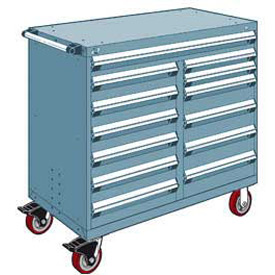 "Rousseau Metal 13 Drawer Mobile Multi-Drawer Cabinet - 48""Wx27""Dx45-1/2""H Everest Blue"