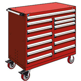 "Rousseau Metal 13 Drawer Mobile Multi-Drawer Cabinet - 48""Wx27""Dx45-1/2""H Red"