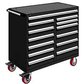 "Rousseau Metal 13 Drawer Mobile Multi-Drawer Cabinet - 48""Wx27""Dx45-1/2""H Black"