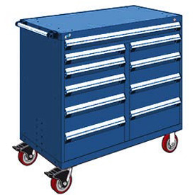 "Rousseau Metal 10 Drawer Mobile Multi-Drawer Cabinet - 48""Wx27""Dx45-1/2""H Avalanche Blue"