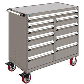"Rousseau Metal 10 Drawer Mobile Multi-Drawer Cabinet - 48""Wx27""Dx45-1/2""H Light Gray"