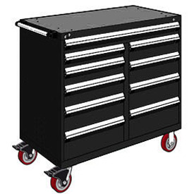 "Rousseau Metal 10 Drawer Mobile Multi-Drawer Cabinet - 48""Wx27""Dx45-1/2""H Black"