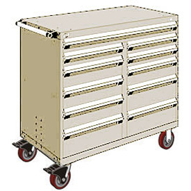 "Rousseau Metal 11 Drawer Mobile Multi-Drawer Cabinet - 48""Wx27""Dx45-1/2""H Beige"