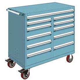 """Rousseau Metal 11 Drawer Mobile Multi-Drawer Cabinet - 48""""Wx27""""Dx45-1/2""""H Everest Blue"""