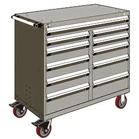 "Rousseau Metal 11 Drawer Mobile Multi-Drawer Cabinet - 48""Wx27""Dx45-1/2""H Light Gray"