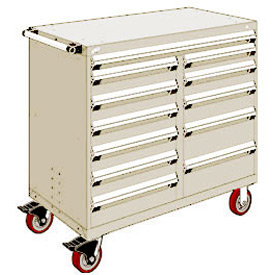 "Rousseau Metal 12 Drawer Mobile Multi-Drawer Cabinet - 48""Wx27""Dx45-1/2""H Beige"