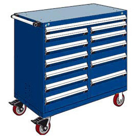 "Rousseau Metal 12 Drawer Mobile Multi-Drawer Cabinet - 48""Wx27""Dx45-1/2""H Avalanche Blue"