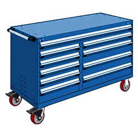 "Rousseau Metal 10 Drawer Mobile Multi-Drawer Cabinet - 60""Wx24""Dx37-1/2""H Avalanche Blue"