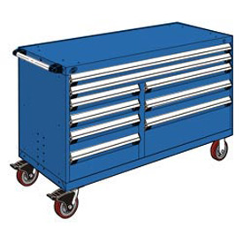 "Rousseau Metal 9 Drawer Mobile Multi-Drawer Cabinet - 60""Wx24""Dx37-1/2""H Avalanche Blue"