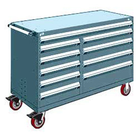 "Rousseau Metal 10 Drawer Mobile Multi-Drawer Cabinet - 60""Wx24""Dx41-1/2""H Everest Blue"