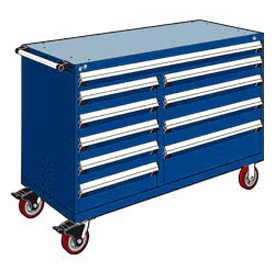 "Rousseau Metal 10 Drawer Mobile Multi-Drawer Cabinet - 60""Wx24""Dx41-1/2""H Avalanche Blue"