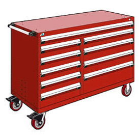 "Rousseau Metal 10 Drawer Mobile Multi-Drawer Cabinet - 60""Wx24""Dx41-1/2""H Red"