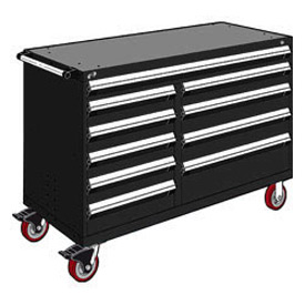 "Rousseau Metal 10 Drawer Mobile Multi-Drawer Cabinet - 60""Wx24""Dx41-1/2""H Black"
