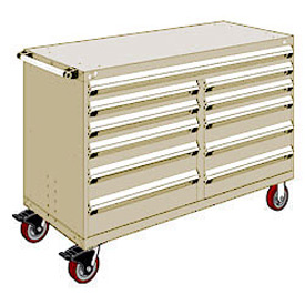 "Rousseau Metal 11 Drawer Mobile Multi-Drawer Cabinet - 60""Wx24""Dx41-1/2""H Beige"