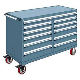 "Rousseau Metal 11 Drawer Mobile Multi-Drawer Cabinet - 60""Wx24""Dx41-1/2""H Everest Blue"