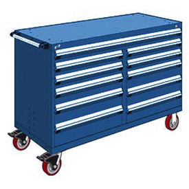 "Rousseau Metal 11 Drawer Mobile Multi-Drawer Cabinet - 60""Wx24""Dx41-1/2""H Avalanche Blue"