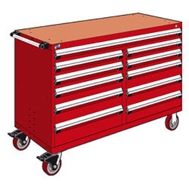 "Rousseau Metal 11 Drawer Mobile Multi-Drawer Cabinet - 60""Wx24""Dx41-1/2""H Red"