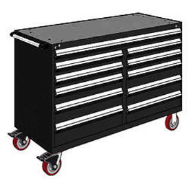 "Rousseau Metal 11 Drawer Mobile Multi-Drawer Cabinet - 60""Wx24""Dx41-1/2""H Black"