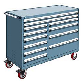 """Rousseau Metal 12 Drawer Mobile Multi-Drawer Cabinet - 60""""Wx24""""Dx45-1/2""""H Everest Blue"""