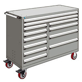 "Rousseau Metal 12 Drawer Mobile Multi-Drawer Cabinet - 60""Wx24""Dx45-1/2""H Light Gray"