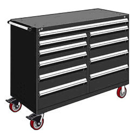 "Rousseau Metal 10 Drawer Mobile Multi-Drawer Cabinet - 60""Wx24""Dx45-1/2""H Black"