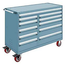 "Rousseau Metal 11 Drawer Mobile Multi-Drawer Cabinet - 60""Wx24""Dx45-1/2""H Everest Blue"