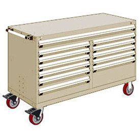 "Rousseau Metal 12 Drawer Mobile Multi-Drawer Cabinet - 60""Wx27""Dx37-1/2""H Beige"