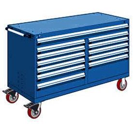 "Rousseau Metal 12 Drawer Mobile Multi-Drawer Cabinet - 60""Wx27""Dx37-1/2""H Avalanche Blue"