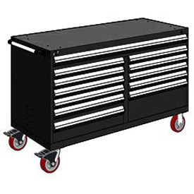 "Rousseau Metal 12 Drawer Mobile Multi-Drawer Cabinet - 60""Wx27""Dx37-1/2""H Black"