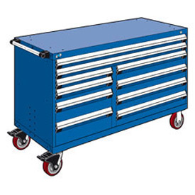 "Rousseau Metal 10 Drawer Mobile Multi-Drawer Cabinet - 60""Wx27""Dx37-1/2""H Avalanche Blue"