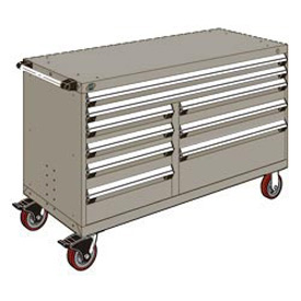 "Rousseau Metal 9 Drawer Mobile Multi-Drawer Cabinet - 60""Wx27""Dx37-1/2""H Light Gray"