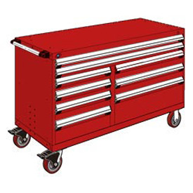 "Rousseau Metal 9 Drawer Mobile Multi-Drawer Cabinet - 60""Wx27""Dx37-1/2""H Red"