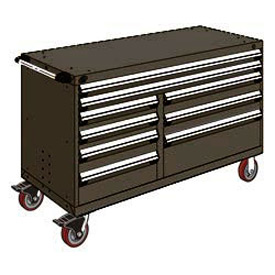 "Rousseau Metal 9 Drawer Mobile Multi-Drawer Cabinet - 60""Wx27""Dx37-1/2""H Black"